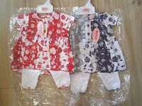 Baby Girl Red Navy Blue Party Floral Dress & White Trouser Outfit 0-3-6-9 Months