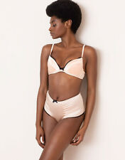 Agent Provocateur FELINDA BRA 36C & BIG BRIEF AP Size 4 in NUDE SATIN - BNWT