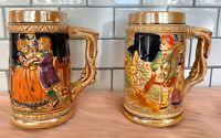 """Ceramic Beer Stein Mugs 5 3/4"""" Tall - Dancing Hunting - Vintage Set of 2 - Japan"""