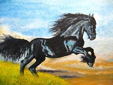 Watercolor Painting Running Black Horse Farm Animals Nature ACEO Art