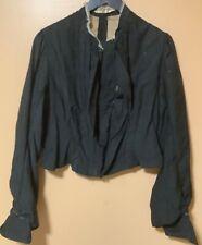 Vtg Early 1900s Women's Edwardian Black Cotton Jacket Long Sleeves