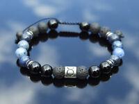 Taurus Tourmaline Dumortierite Birthstone Bracelet 6-9'' Macrame Healing Stone