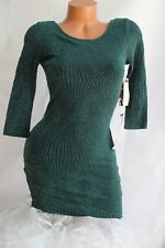 TRIXXI (5) HOLIDAY DRESS Teal Bodycon Silver Shimmer Plunge Back   MSRP $69.00