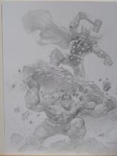 ALEX HORLEY original art, THOR vs HULK, 11x14, Thunder God, Smash, Incredible