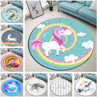 Cartoon Unicorn Cloud Round Floor Mat Kids Bedroom Carpet Living Room Area Rugs