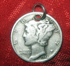 VINTAGE ANTIQUE MERCURY DIME 900 STERLING SILVER COIN PENDANT CHARM NECKLACE