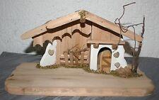 Krippe Weihnachten Holz 30 cm x 15,5 cm x 15 cm Gebäude re Stall li Krippenstall