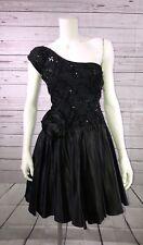 HW Collections Sz 4 One Shoulder Dress Black Sequins Cocktail Formal Prom