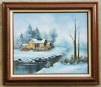 Vintage D. SMITH Original Oil Painting Snowy Winter Landscape Cabin Forest River