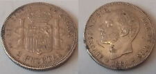 RARE EUROPE SPAIN KING ALFONSO XII 1881 AD/81-MSM SILVER COIN 2 PESETAS