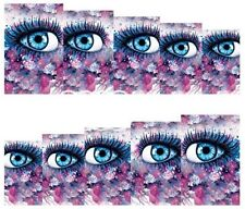 Nail Art Decals Transfers Stickers Blue Eyes & Big Lashes (A-136)