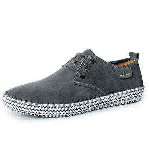 Gray Woven Accessories Flat Round Toe Lace-Up Loafers Suitable Driving Walking