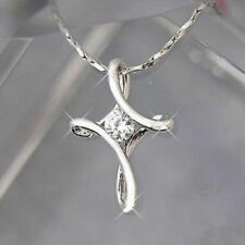 Infinity Cross gold Silver White Plated Crystal Rhinestone Pendant Necklace NEW