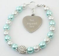 Flower Girl Wedding Bracelet With Personalised Engraved Charm Gift any text