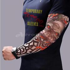 8pz Maniche Manicotti Moda Tattoo Tatuaggio Finto Elasticizzate Uomo Body Art