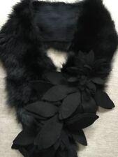 """Genuine Rabbit Fur Scarf Collar 32""""L X 3.5""""W Black Felt Floral Flowers Boho Chic"""