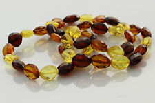 Lot of 3 Faceted Olive Genuine Beads Baltic Amber Stretch Bracelet 21.3g b0913-5