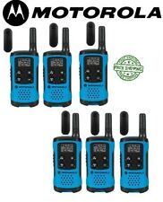 Motorola Talkabout T100TP Walkie Talkie 6 Pack Set Two Way Radios Blue New
