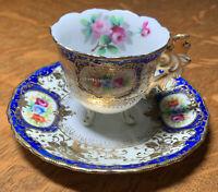 Vintage Chubu Demitasse Tea Cup & Saucer Raised Gold  Occupied Japan
