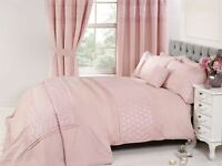 EMBROIDERED FLORAL PLEATS PINK COTTON BLEND DOUBLE DUVET COVER