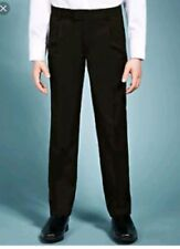 Marks & Spencer Boy's Pleat Front Classic Leg Black School Trousers 9-10 Years