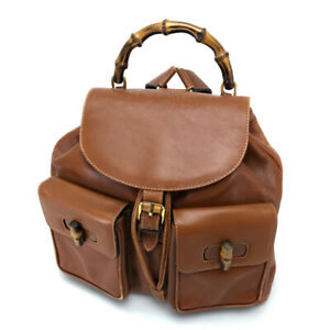 GUCCI 003・2058・0016 Old Gucci Bamboo Backpack-Bag Leather Brown