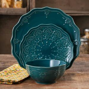 The Pioneer Woman Farmhouse Lace 12-Piece Dinnerware Set, Teal