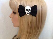 Skull hair bow clip rockabilly pin up girl punk gothic black sugar cute pinup