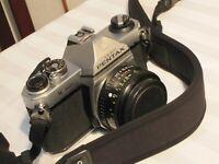 PENTAX K1000 35mm FILM SLR CAMERA w RIKENON P 1:2 50mm RICOH LENS