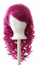 20'' Long Layered Super Curly Long Bangs Magenta Pink Synthetic Cosplay Wig NEW
