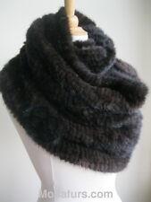 Women's Knitted Mink Fur Tube Infinity Wrap Stole Scarf Neckwarmer  Black Brown