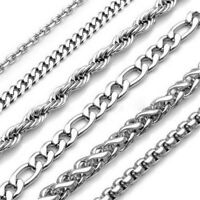 """Mens Womens Stainless Steel Chain Silver Curb Link Necklace 18""""- 30"""" 2-9mm"""