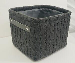 "Lot of 2 Threshold GRAY Fabric Soft Storage Bin Basket 9""× 8""× 7"