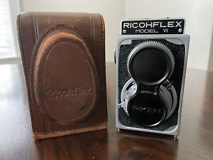 Vintage Riken Ricohflex Model VI 120 TLR Camera With Leather Case