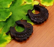 A Pair of Ethnic Wood Craft Organic Handmade Brown Wooden stick Earrings EAR159