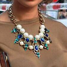 Green Rhinestone Pearl luxurious Necklace Chunky Statement Pendant Collar