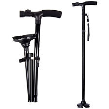 LED Walking Stick HurryCane All Terrain Pivoting Base Folding Cane Travel Black