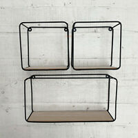 S/3 Wood Metal Locker Room Wall Floating Cube Shelving Storage Display Rack Unit