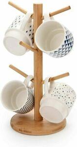 6 Hook Peg Wooden Hanging Tea Cup Coffee Mug Tree Rack Holder Kitchen Storage UK