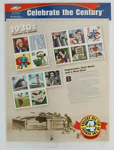32c Celebrate the Century 1930s Souvenir Sheet of 15 1998 Scott #3185 Sealed