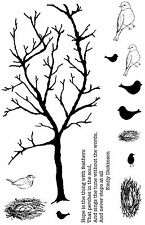 Non montés Rubber Stamps Arbre & Oiseaux Spring Branch