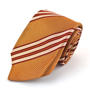 New KITON Napoli Gold Orange Striped 100% Silk Woven Neck Tie 3.25""