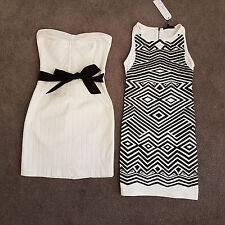 Womens White & Black Dresses Strapless & Sleeveless Shift Cocktail Size 8-10