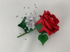 wedding buttonholes rose flower bouquets ivory purple groom best man,single,red
