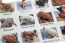 Montessori North American Animal Match -Miniature Figurine w/ Matching Cards