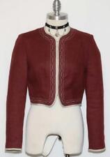 Dark RED LINEN German Women Sport Riding Fitted SHORT Skirt JACKET Coat 40 6 S