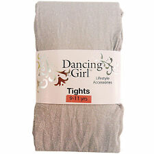 NEW CHILDS CHILDRENS GIRLS GLITTER SPARKLY PARTY SILVER TIGHTS AGE 9 / 10 / 11
