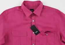 Men's HUGO BOSS Fuchsia Pink Linen OMAR Shirt Medium M NWT NEW $185+ Awesome!