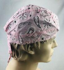 Pink Doo Rag head wrap Skull Cap Biker Durag Paisley Pattern NEW