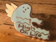 High on Life Hard Enamel Pin Brooch Lapel Angel Wings 420 Hipster Hippie Music